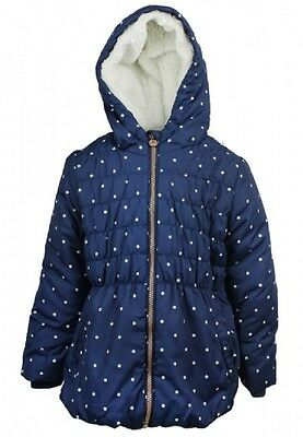 Exstore Girls Navy Hooded Padded Winter Jacket School Coat Age 18M - 8 Years NEW