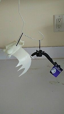 NEW W/ TAGS! Set of Plastic Halloween HANGING BATS Black & White Wingspan 10""