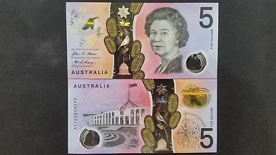 "1x""Australia NEW 2016 $5 Polymer Banknote Stevens/Fraser UNC-CONSECUTIVE NUMBER"""