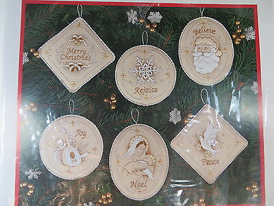 Pure Elegance Ornaments crewel set of 6 1998 white on white Dimensions Christmas