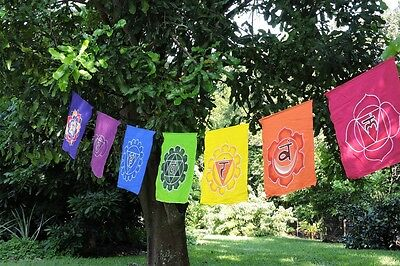 Hand Batiked large Rainbow Chakra Seven chakra banner wall hanging prayer flags