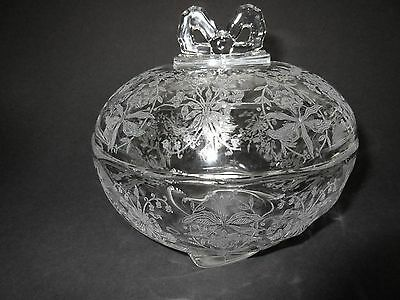 Large Heisey Orchid Candy Dish with Bow Knot Finial