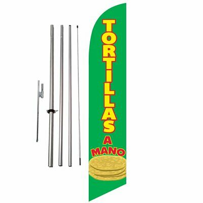 Tortillas A Mano 15ft Feather Banner Swooper Flag Kit with pole & spike