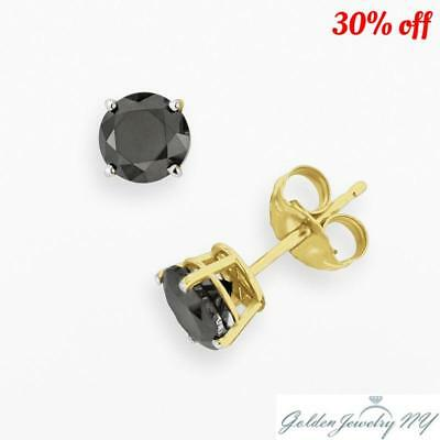 9d19625a0 14K Solid Yellow Gold Round Black Onyx CZ Stud Earrings Basket Setting.