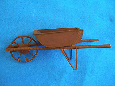 Miniature Dollhouse Rustic Metal Wheelbarrow For Doll House Garden-1:12 Scale