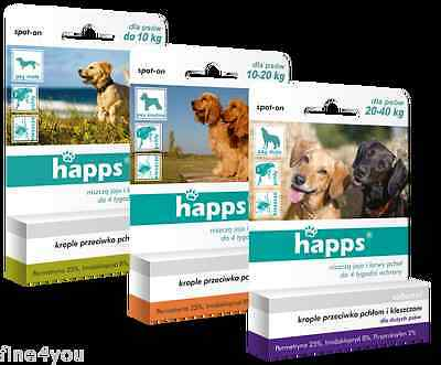 HAPPS spot-on Flea and Tick Pipettes 3pack - 3 months treatment for dogs