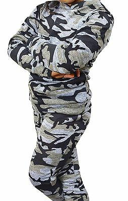 New KIDS GIRLS Army Camouflage Tracksuit Print 2 Piece jogging Suit 5-13