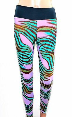 Full Length Mauve Zebra Leggings S M L Gym Womens Yoga Pants Tight Fitness