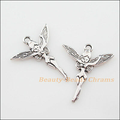 8Pcs Tibetan Silver Tone Dancing Angel Wings Charms Pendants 24.5x29mm