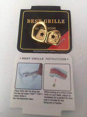 Grillz 24K Gold Plated Double Open Face Hip Hop Bling Tooth Cap Teeth