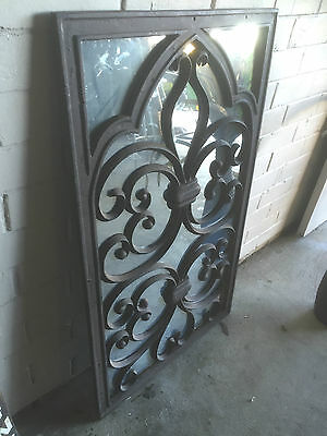 Vintage Rustic Industrial Morrocan Gothic Cast Iron Outdoor Mirror Wall Art # 1