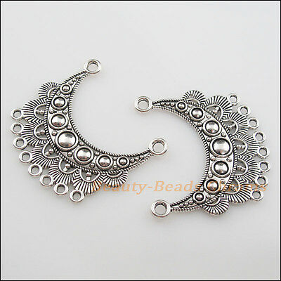 2Pcs Tibetan Silver Tone 2-8 Moon Flower Charms Pendants Connectors 42x46mm