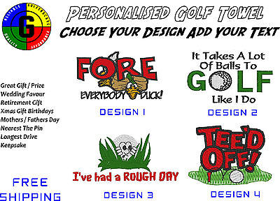 Personalised Golf Towel - Choice Of Design & Colour, Add Text - Free Shipping