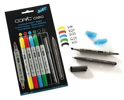 Copic Ciao Marker - 6 Pen Set - Brights Set - Twin Tipped