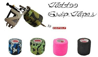 12 ROLLS 5cm/2 inch Tattoo Grip Tapes; VETWRAP; Cohesive Bandages, CAMO MIX