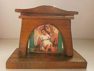 Antique  Vintage  Old Wooden Stand for the Icon Picture frame Candle Stand