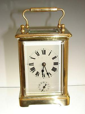 Antique French Brass Corniche Shape Bell Alarm Carriage Clock + Key (Working)