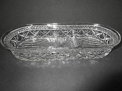"""Unusual Cape Cod 11"""" Oblong Divided Bowl / Imperial Glass Co"""