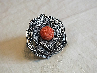 "Beautiful Silver Tone Chunky Cocktail Ring Stretch Carved Orange Rose 2"" Face"
