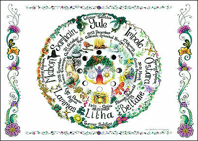 Wheel of the Year A4 wallchart poster planner calendar pagan wicca gardening