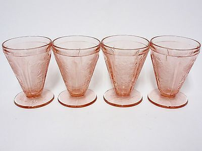 4 Matching Pink Cherry Blossom AOP Footed Juice Tumblers / Jeannette Co