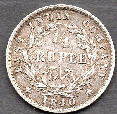 1840 East India Company - Quarter Rupee  - ** Vf Condition **  Queen Victoria