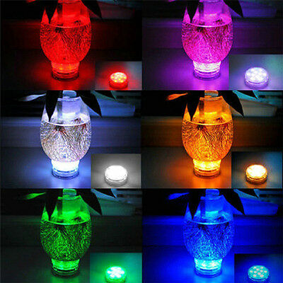 10 Led Rgb Lights Party Vase Underwater Waterproof Remote Control Lamps Stunning