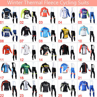 Mens Team Winter Cycling Outfits Jersey Bib Pants Kits Fleece Warm Shirt Tights