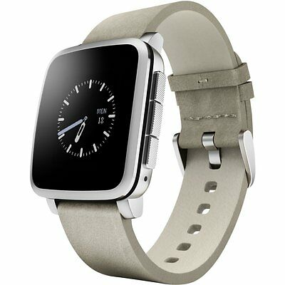 Pebble Time Steel Smartwatch Silver Leather Band Smart Watch Apple Android NEW