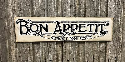 BON APPETIT SMALL - Rustic Vintage Style Timber Wall Sign Art French Provincial