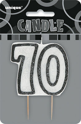 Glitz Birthday Black Numeral Candle 70TH Party Supplies Decoration Accessories