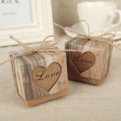 100pcs Wedding Love Heart Rustic Kraft Candy Boxes Vintage Ribbon Gift Favor Set