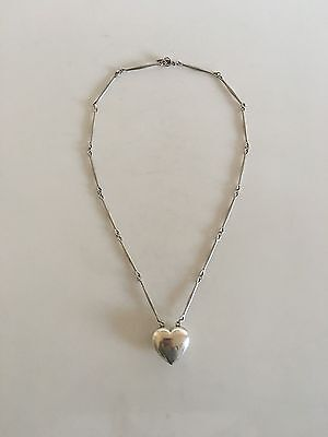 Georg Jensen Sterling Silver Necklace with Heart Pendant #126B