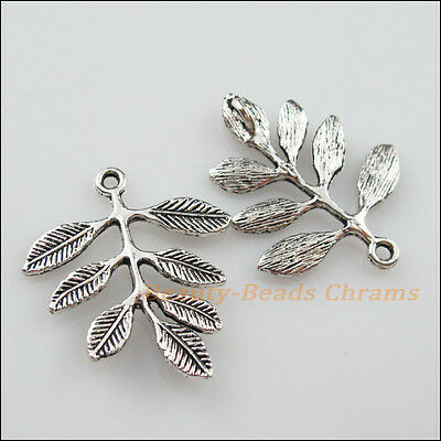 4Pcs Tibetan Silver Tone Branch Leaf 1-1 Charms Pendants Connectors 27x32mm