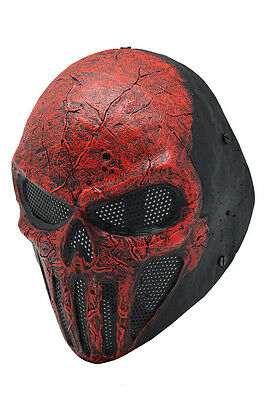 Full Face Wire Mesh Protection Airsoft Paintball Red Skull Mask PROP Halloween