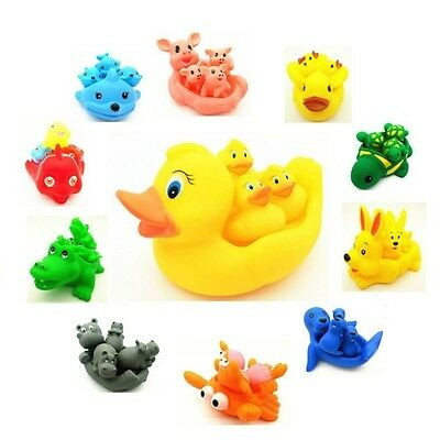 Cute Soft Rubber Float Sqeeze Sound Baby Swimming Wash Bath Play Animals Toys