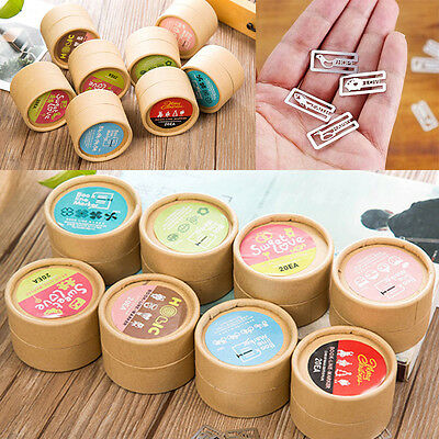 Cute 20pcs Metal Bookmark Book Paper Photo Note Clip Marker Kraft Paper Box Gift