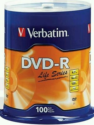 VERBATIM Life Series DVD-R DVDR 16X 4.7GB Branded Logo 100 pack Spindle 97177