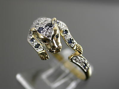 VINTAGE 9ct GOLD SAPPHIRE & DIAMOND PANTHER RING C.1970