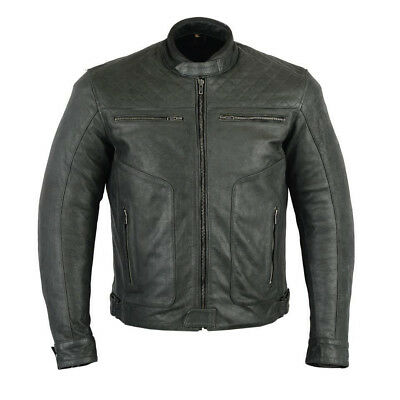 Rksports Gear Mens Casual Fashion Leather Motorcycle Black Jacket with Armour