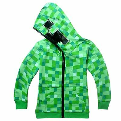 UK STOCK Minecraft Creeper Kids Children's Hoodie Zip Up Jacket