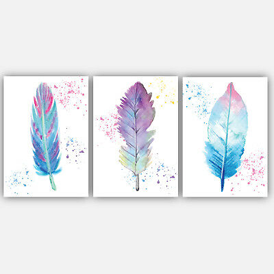 Set of 3 Watercolour Pastel Feathers Variations Decor A4 Wall Art picture prints