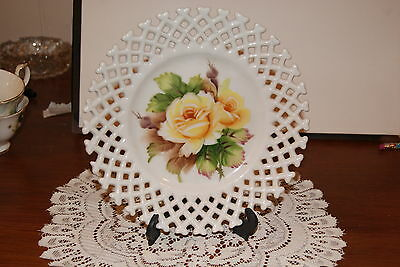 Vintage....lefton......hand Painted / Rose ...collectible....laced Edge Plate