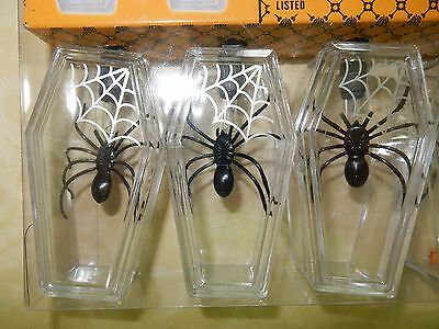 HALLOWEEN SPOOKY BLACK SPIDERS IN WEB CASE 9 FT Electric String Lights NEW