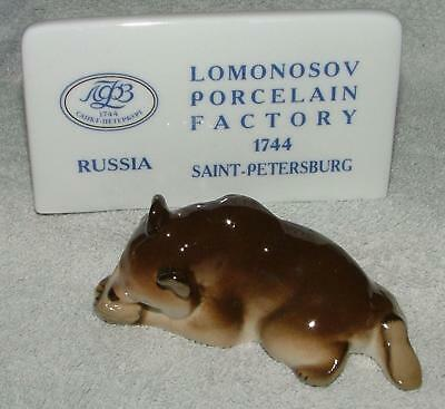 Lomonosov Russian Porcelain Animal Figure Bear Cub With Honey