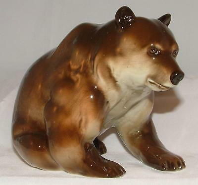 Lomonosov Russian Porcelain Animal Figure Large Brown Bear Sitting
