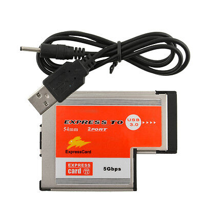 Express Card USB 3.0 2 Port PC Laptop Notebook Expansion Card 5Gbps Adapter