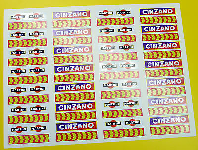SLOT CAR SCALEXTRIC 1/32nd Barrier stickers decals Martini chevrons x56