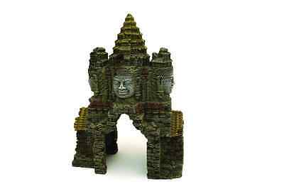 Rosewood Temple Gate Angkor Wat Aquarium Ornament, 18x10x24cm