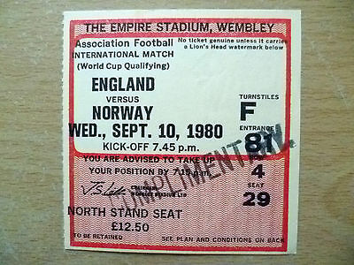 Tickets- 1980 World Cup Qualifying Match ENGLAND v NORWAY, 10 Sept, Wembley